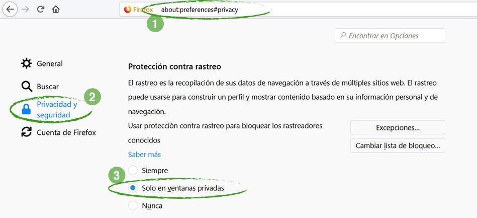Pantalla de Firefox : Protección contra rastreo